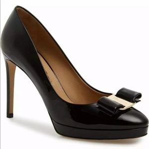 NEW 9 Salvatore Ferragamo Black Leather Heel Wide